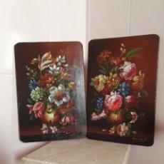 Arte: PRECIOSA PAREJA DE BODEGONES DE FLORES PINTADOS AL OLEO SOBRE TABLA. Lote 98189592