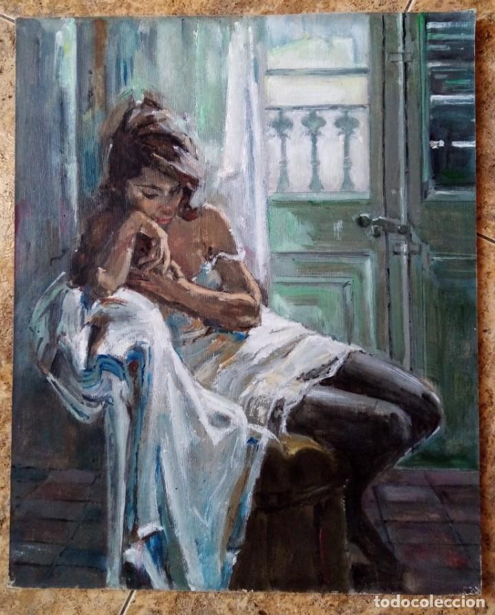 PINTURA ORIGINAL ACRILICO SOBRE LIENZO PEGADO A TABLEX SIN FIRMA - MUJER SENTADA - 40X32 CMTS (Arte - Pintura - Pintura al Óleo Contemporánea )