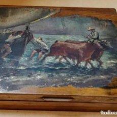 Arte: ANTIGUO ÓLEO PINTADO SOBRE TABLA EN CAJA DE MADERA. PESCADORES CON BUEYES EN LA PLAYA.VALENCIA.. Lote 215164931