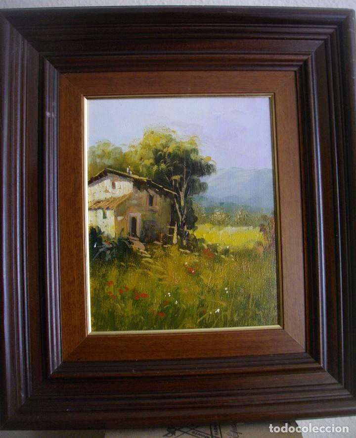 Arte: excelente conjunto oleo firmado¿¿ sobre lienzo con marco (47 x 41 ctms ) incluido - Foto 5 - 215181133