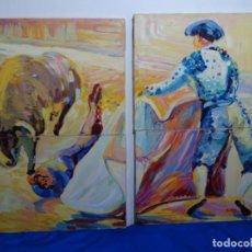 Arte: 4 ÓLEOS DE ROSA MARIA CORTÁZAR QUE FORMAN UN PASE TORERO.. Lote 215228135