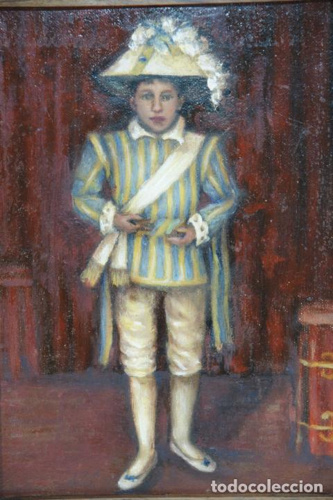 Arte: Oleo sobre tela, mozo con traje típico regional o de ceremonia o festejo. Marco antiguo. - Foto 2 - 215247332