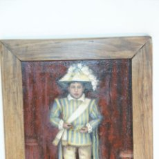 Arte: OLEO SOBRE TELA, MOZO CON TRAJE TÍPICO REGIONAL O DE CEREMONIA O FESTEJO. MARCO ANTIGUO.. Lote 215247332