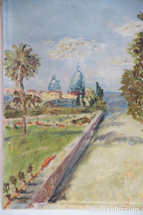Arte: Oleo sobre lienzo con pintura en relieve. Paisaje de costa con cúpulas y jardín. Firmado. - Foto 2 - 215247551
