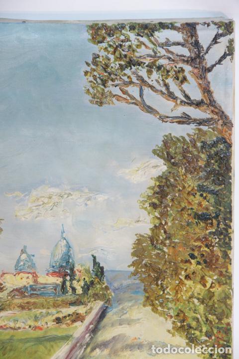 Arte: Oleo sobre lienzo con pintura en relieve. Paisaje de costa con cúpulas y jardín. Firmado. - Foto 3 - 215247551