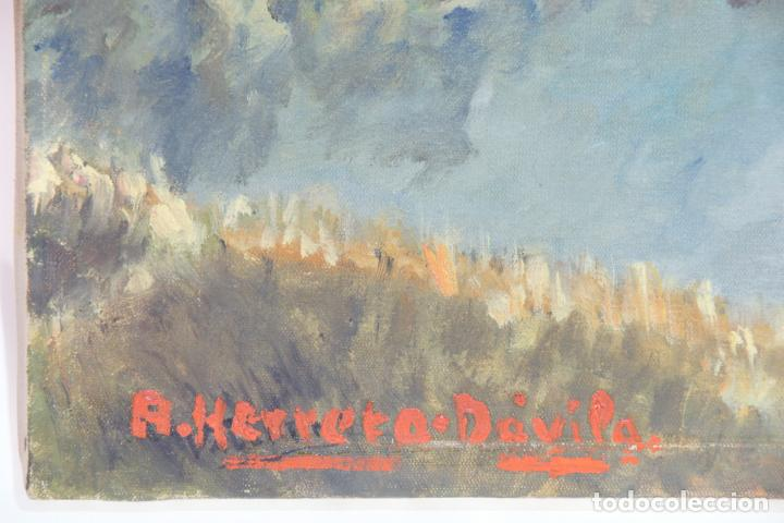 Arte: Oleo sobre lienzo paisaje bucólico de palacete o pueblo junto a lago y entre montañas. Firmado. - Foto 4 - 215248922