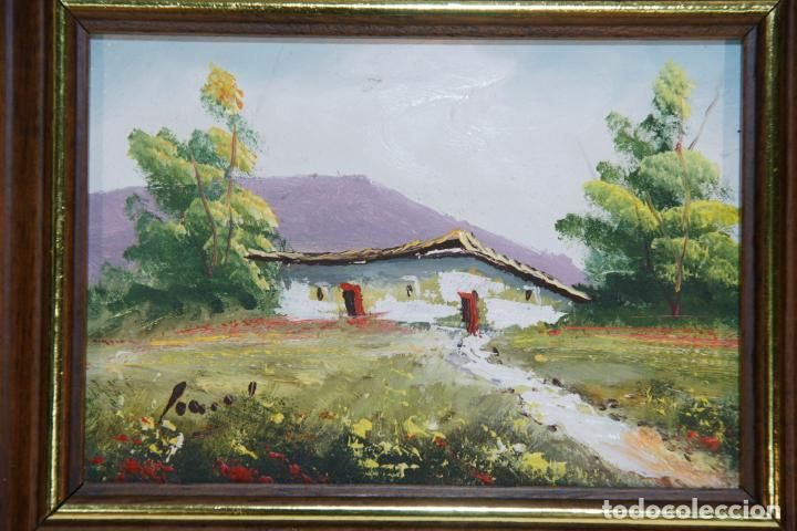 Arte: Oleo sobre tablex, casa de campo con campo de amapolas. Firmado. - Foto 2 - 215253640