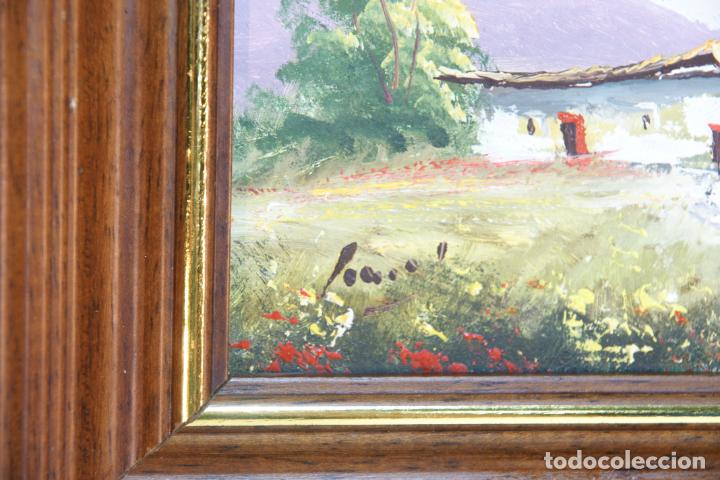 Arte: Oleo sobre tablex, casa de campo con campo de amapolas. Firmado. - Foto 3 - 215253640