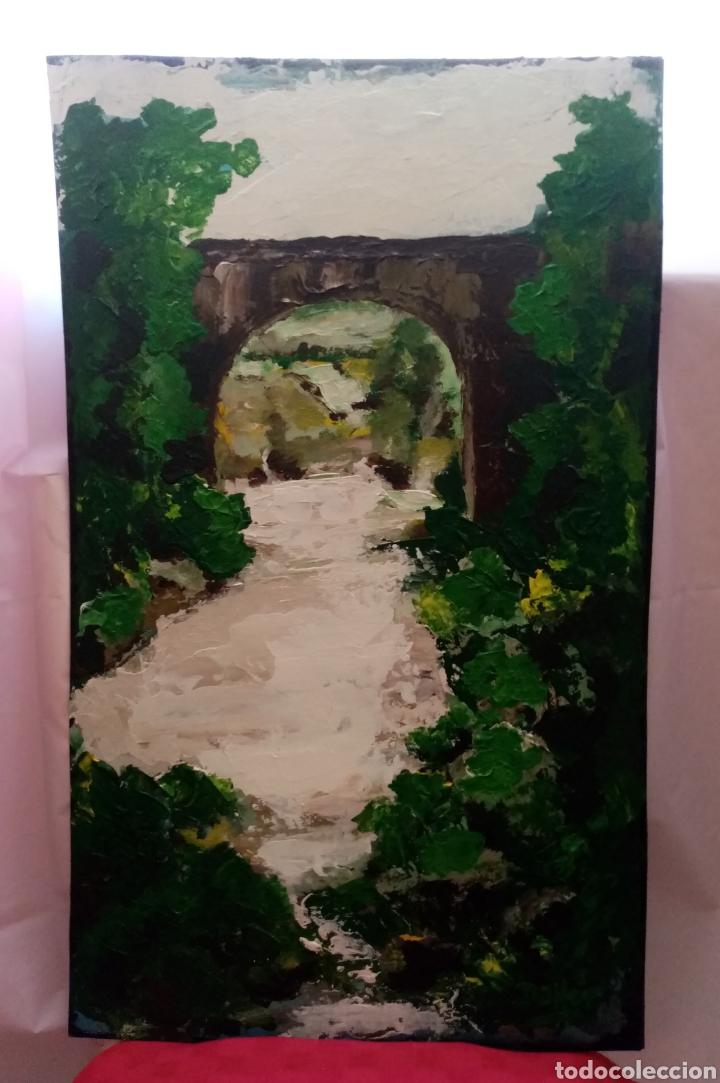 Arte: Estupenda pintura paisaje vertical. En el puente (2). Óleo sobre tabla. 67cm x 41cm - Foto 2 - 215287513