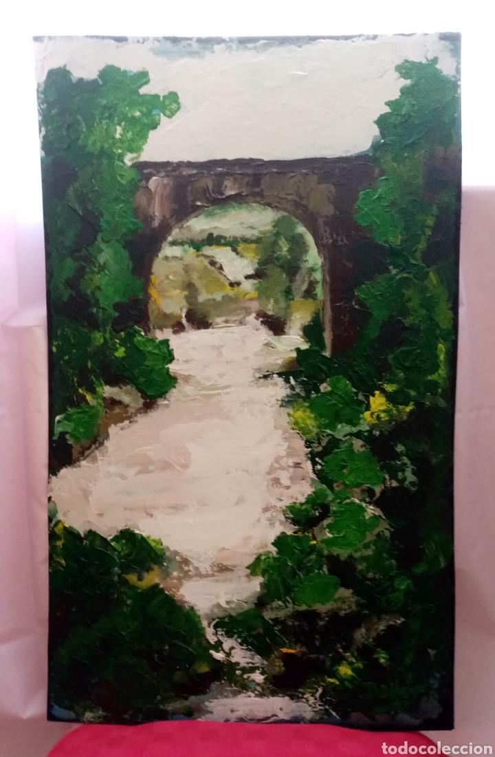 Arte: Estupenda pintura paisaje vertical. En el puente (2). Óleo sobre tabla. 67cm x 41cm - Foto 3 - 215287513