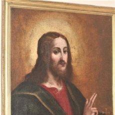 Arte: CRISTO EMPERADOR SIGLO XVII MEDIDAS 107 X 74 CM LIENZO. Lote 215301188