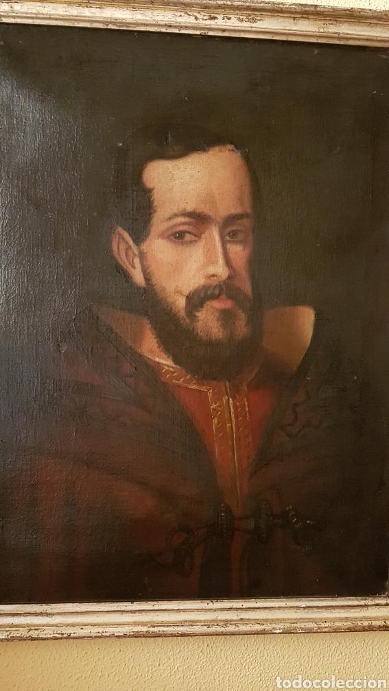 Arte: OLEO SOBRE LIENZO DE RETRATO DE FELIPE II CON MARCO PLATA CORLADA. Ppos. S. XIX. MEDIDAS 46 X 58 CM. - Foto 3 - 215474977