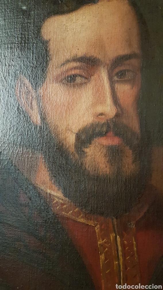 Arte: OLEO SOBRE LIENZO DE RETRATO DE FELIPE II CON MARCO PLATA CORLADA. Ppos. S. XIX. MEDIDAS 46 X 58 CM. - Foto 4 - 215474977