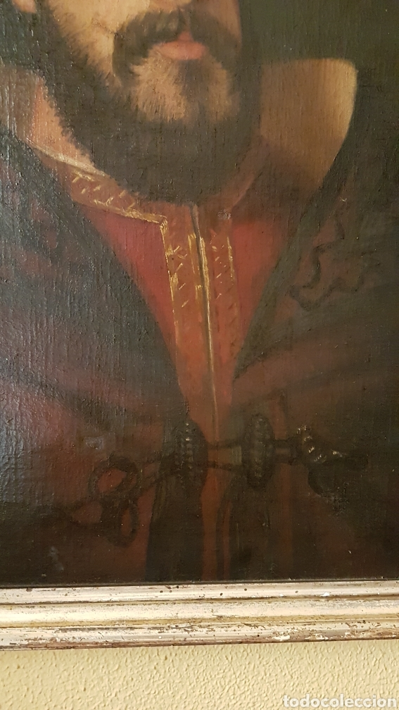 Arte: OLEO SOBRE LIENZO DE RETRATO DE FELIPE II CON MARCO PLATA CORLADA. Ppos. S. XIX. MEDIDAS 46 X 58 CM. - Foto 5 - 215474977