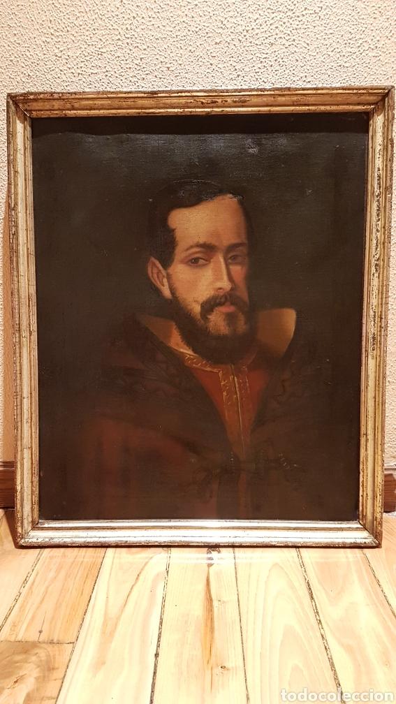 Arte: OLEO SOBRE LIENZO DE RETRATO DE FELIPE II CON MARCO PLATA CORLADA. Ppos. S. XIX. MEDIDAS 46 X 58 CM. - Foto 8 - 215474977