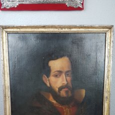 Arte: OLEO SOBRE LIENZO DE RETRATO DE FELIPE II CON MARCO PLATA CORLADA. PPOS. S. XIX. MEDIDAS 46 X 58 CM.. Lote 215474977