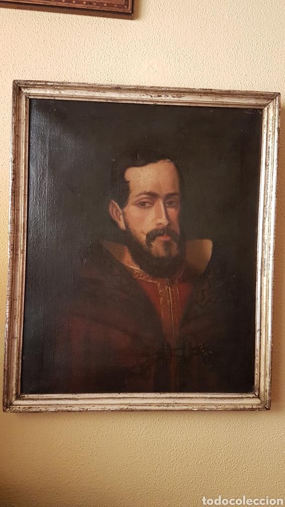Arte: OLEO SOBRE LIENZO DE RETRATO DE FELIPE II CON MARCO PLATA CORLADA. Ppos. S. XIX. MEDIDAS 46 X 58 CM. - Foto 2 - 215474977