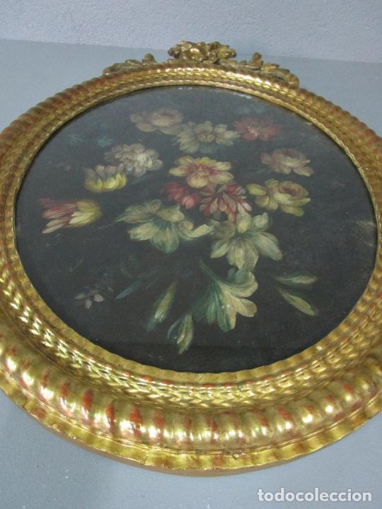 Arte: Antigua Pintura - Bodegón con Flores - Óleo sobre Tela - Precioso Marco en Madera Dorada - S. XIX - Foto 2 - 215544827