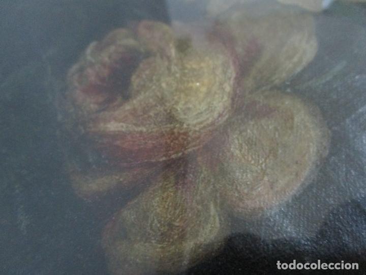 Arte: Antigua Pintura - Bodegón con Flores - Óleo sobre Tela - Precioso Marco en Madera Dorada - S. XIX - Foto 5 - 215544827