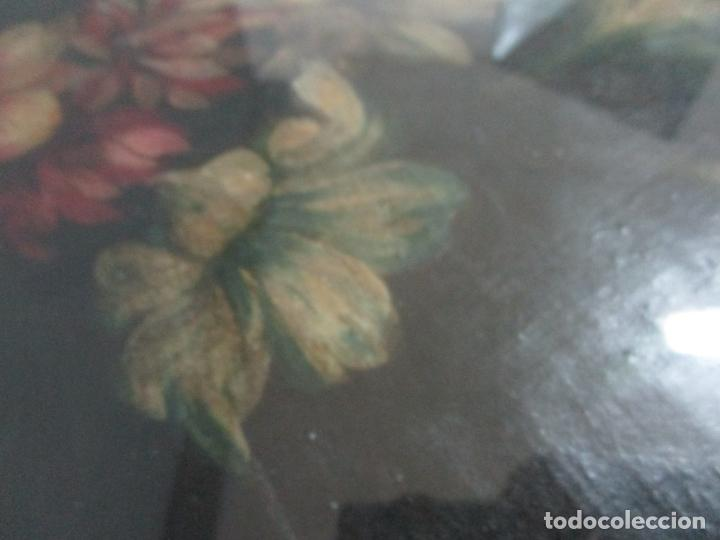 Arte: Antigua Pintura - Bodegón con Flores - Óleo sobre Tela - Precioso Marco en Madera Dorada - S. XIX - Foto 6 - 215544827