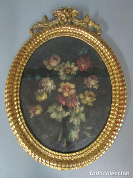 Arte: Antigua Pintura - Bodegón con Flores - Óleo sobre Tela - Precioso Marco en Madera Dorada - S. XIX - Foto 8 - 215544827