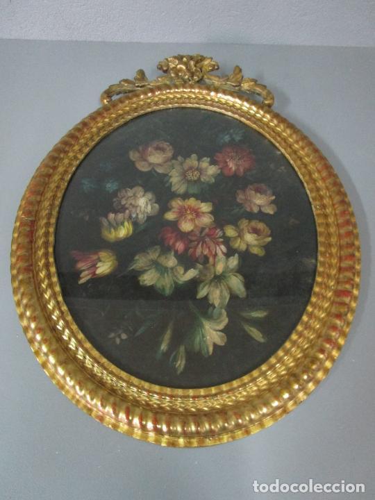 Arte: Antigua Pintura - Bodegón con Flores - Óleo sobre Tela - Precioso Marco en Madera Dorada - S. XIX - Foto 18 - 215544827