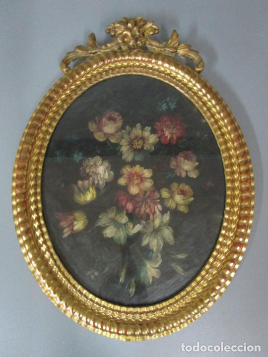 Arte: Antigua Pintura - Bodegón con Flores - Óleo sobre Tela - Precioso Marco en Madera Dorada - S. XIX - Foto 19 - 215544827