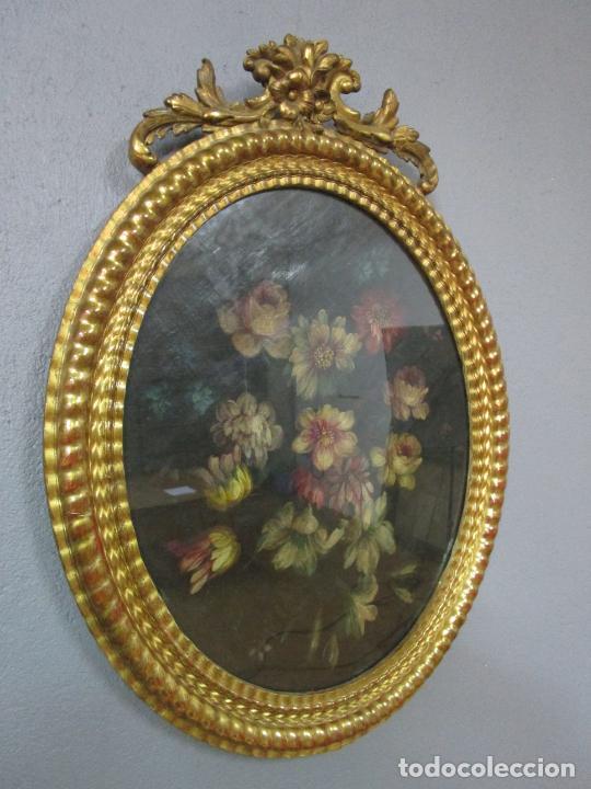 Arte: Antigua Pintura - Bodegón con Flores - Óleo sobre Tela - Precioso Marco en Madera Dorada - S. XIX - Foto 25 - 215544827