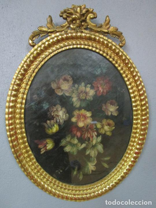 Arte: Antigua Pintura - Bodegón con Flores - Óleo sobre Tela - Precioso Marco en Madera Dorada - S. XIX - Foto 26 - 215544827