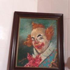 Arte: MUY BONITA PINTURA DE UN PAYASO SOBRE LIENZO FIRMADA POR FERREIRA PINTOR SEVILLANO. Lote 115179222