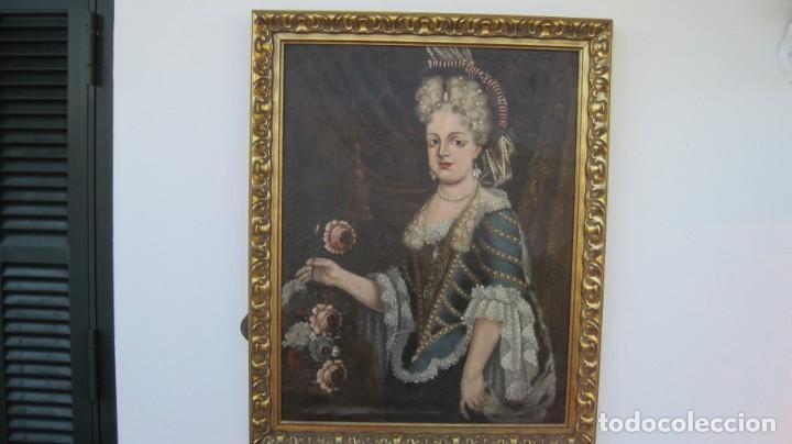 RETRATO DE MARÍA LUISA GABRIELA DE SABOYA. REINA CONCONSORTE DE ESPAÑA, CASADA CON FELIPE V (Arte - Pintura - Pintura al Óleo Antigua siglo XVIII)