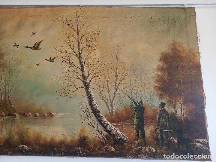 Arte: Gran oleo sobre lienzo escena de caza de patos en el río. Firmado. F. Ochoteco. - Foto 2 - 215620376