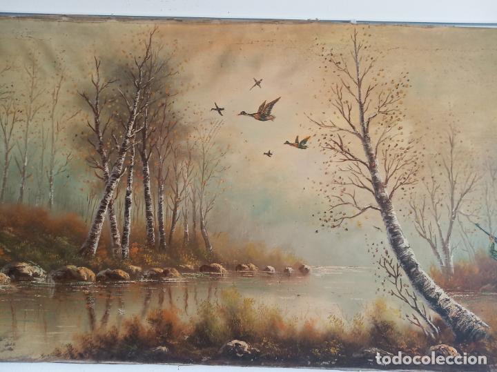 Arte: Gran oleo sobre lienzo escena de caza de patos en el río. Firmado. F. Ochoteco. - Foto 3 - 215620376