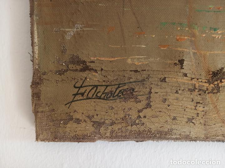 Arte: Gran oleo sobre lienzo escena de caza de patos en el río. Firmado. F. Ochoteco. - Foto 5 - 215620376