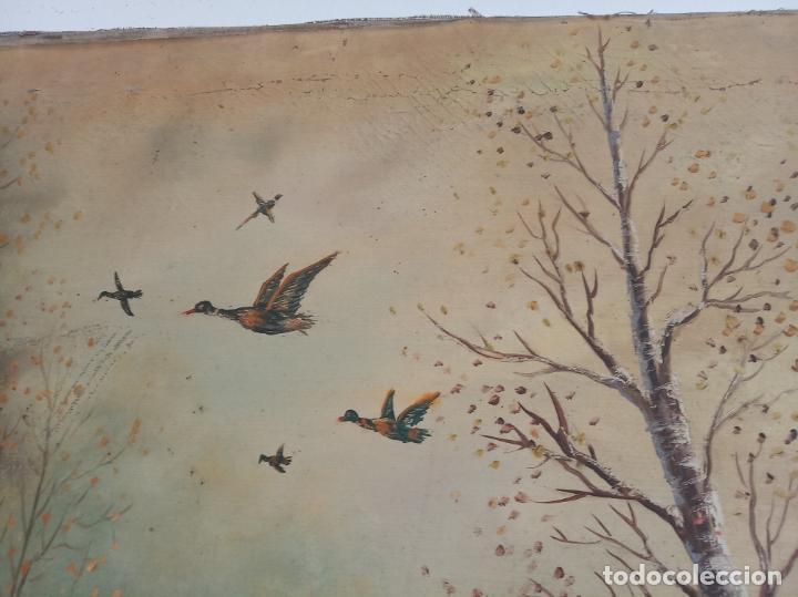 Arte: Gran oleo sobre lienzo escena de caza de patos en el río. Firmado. F. Ochoteco. - Foto 7 - 215620376