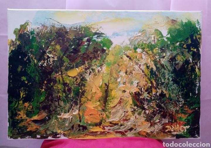 Arte: Hermosa pintura horizontal. Muy luminoso. Claros en el bosque amarillo. Óleo sobre lienzo. - Foto 2 - 215638791