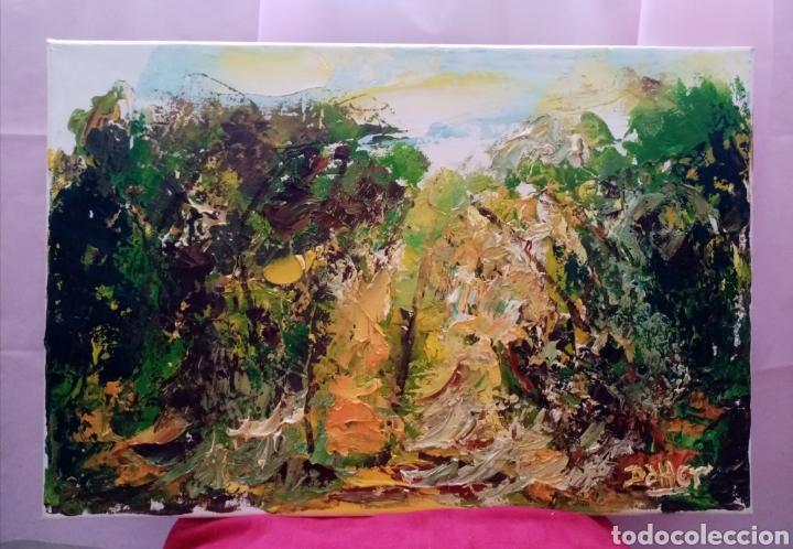 Arte: Hermosa pintura horizontal. Muy luminoso. Claros en el bosque amarillo. Óleo sobre lienzo. - Foto 3 - 215638791