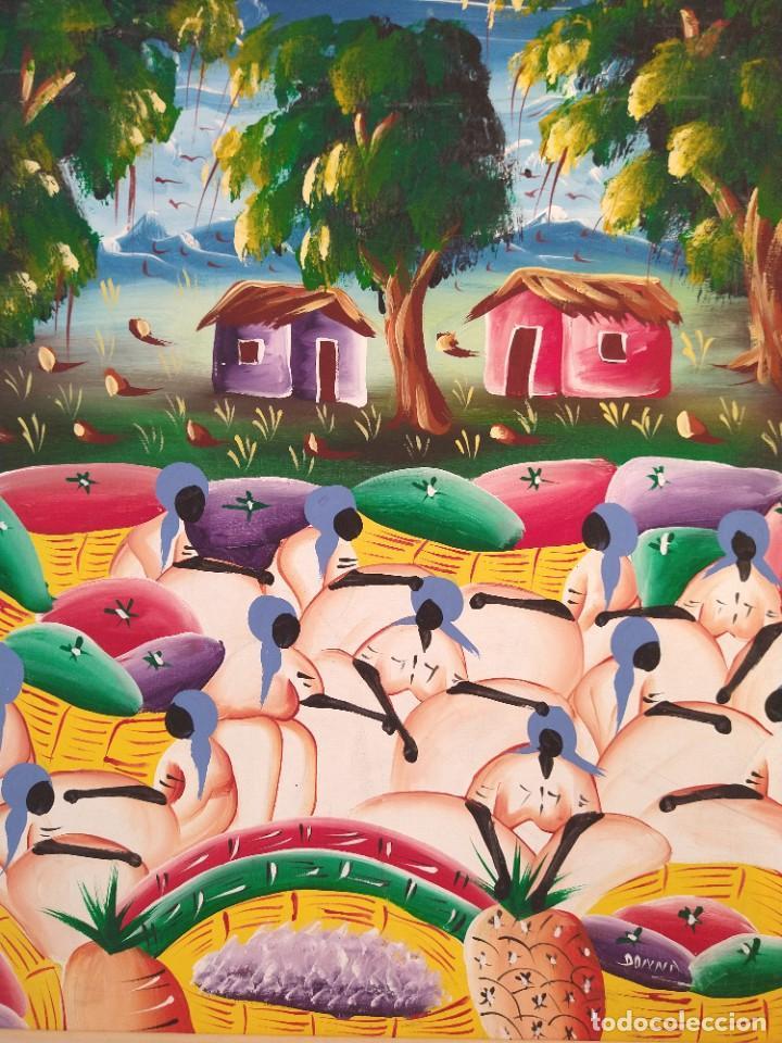 Arte: ESCUELA ETNICA FIRMADA DONNA. ÓLEO SOBRE TABLA. TENDENCIA NAIF. ENMARCADO. - Foto 2 - 215652610