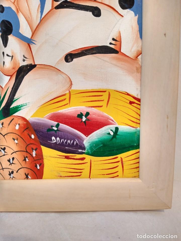 Arte: ESCUELA ETNICA FIRMADA DONNA. ÓLEO SOBRE TABLA. TENDENCIA NAIF. ENMARCADO. - Foto 3 - 215652610