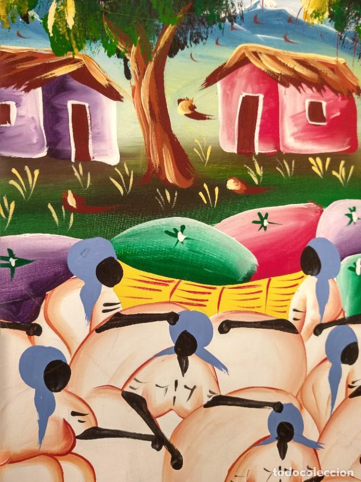 Arte: ESCUELA ETNICA FIRMADA DONNA. ÓLEO SOBRE TABLA. TENDENCIA NAIF. ENMARCADO. - Foto 4 - 215652610