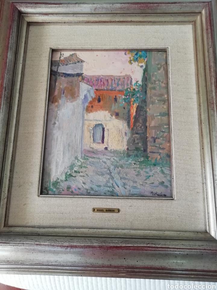 Arte: Óleo sobre tabla de Miguel Barbero firmado, 22 x 27, con marco 50 x 44 cm, titulado al dorso. - Foto 2 - 215699067