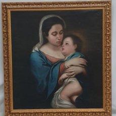 Arte: LA VIRGEN Y EL NIÑO - ESCUELA ESPAÑOLA SG XVIII - 96 X 89´5 CM - MURILLO.. Lote 215699181