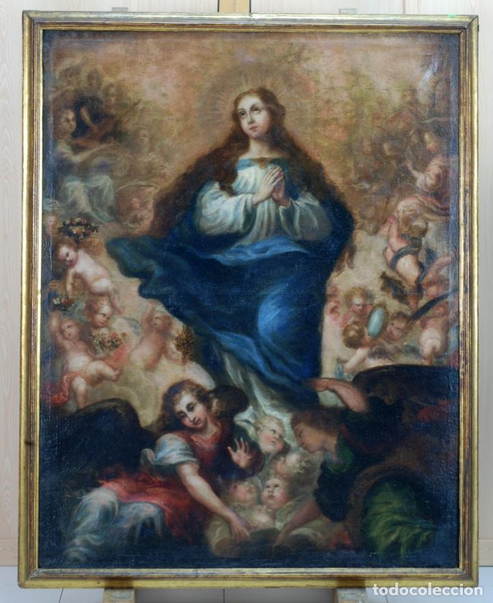 Arte: Óleo lienzo Inmaculada Concepción rodeada de ángeles y arcángeles Escuela sevillana siglo XVIII - Foto 20 - 229366890