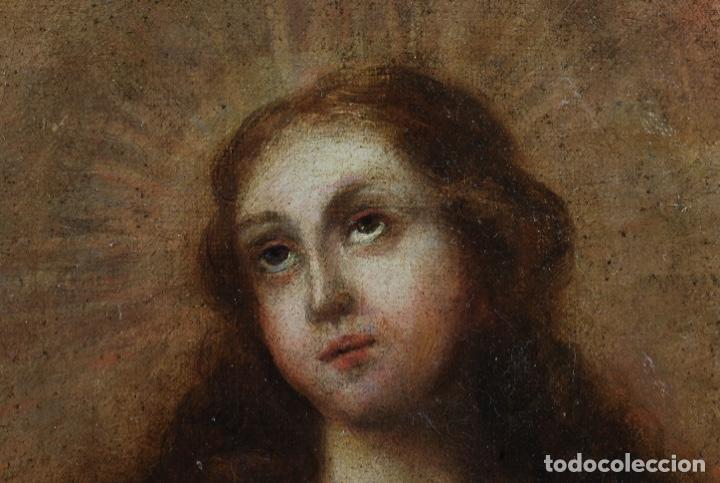 Arte: Óleo lienzo Inmaculada Concepción rodeada de ángeles y arcángeles Escuela sevillana siglo XVIII - Foto 23 - 229366890