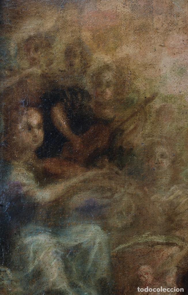 Arte: Óleo lienzo Inmaculada Concepción rodeada de ángeles y arcángeles Escuela sevillana siglo XVIII - Foto 25 - 229366890