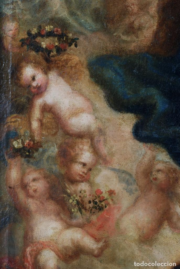 Arte: Óleo lienzo Inmaculada Concepción rodeada de ángeles y arcángeles Escuela sevillana siglo XVIII - Foto 27 - 229366890