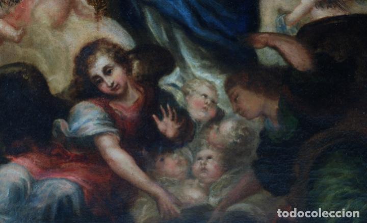 Arte: Óleo lienzo Inmaculada Concepción rodeada de ángeles y arcángeles Escuela sevillana siglo XVIII - Foto 28 - 229366890