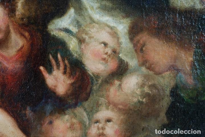 Arte: Óleo lienzo Inmaculada Concepción rodeada de ángeles y arcángeles Escuela sevillana siglo XVIII - Foto 29 - 229366890