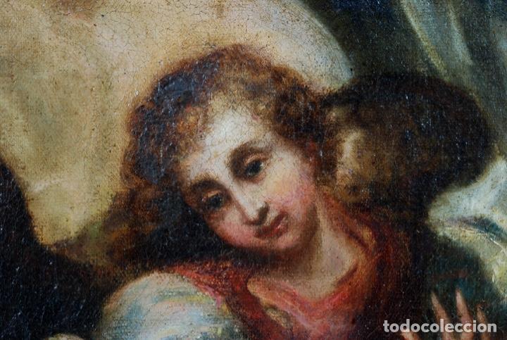 Arte: Óleo lienzo Inmaculada Concepción rodeada de ángeles y arcángeles Escuela sevillana siglo XVIII - Foto 30 - 229366890