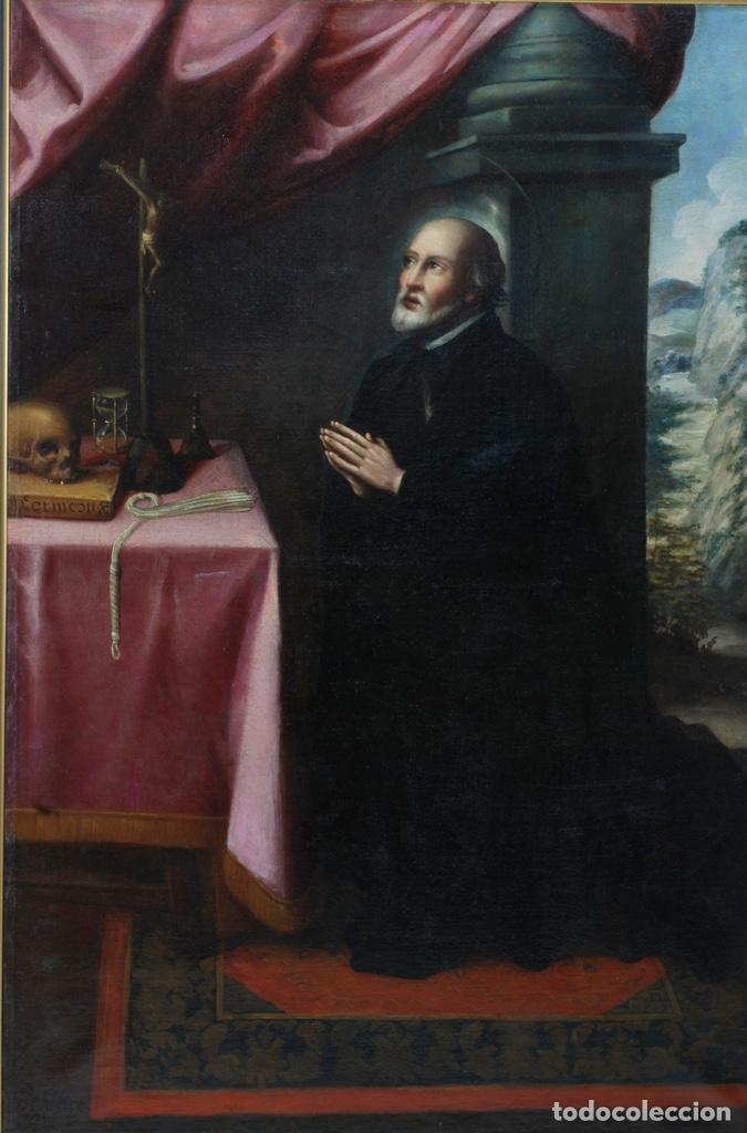 Arte: Óleo lienzo San Felipe Neri Escuela toledana siglo XVII círculo de Juan Sanchez Cotán - Foto 2 - 215944275